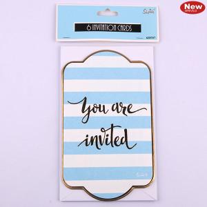 *6pk Blue Invitation Cards + Envelopes