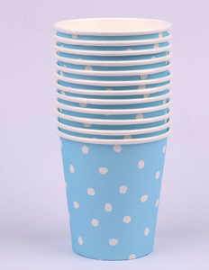 *12pk 200ml Blue Dotty Paper Cups