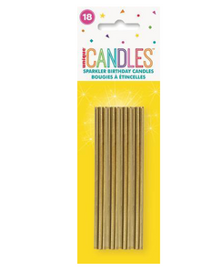 18 GOLD SPARKLER CANDLES