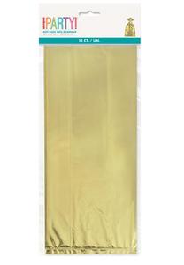 10 CELLO BAGS - GOLD FOIL