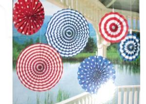Decoration Fans Mixed (Blue & Red Stripe) (6Pcs)