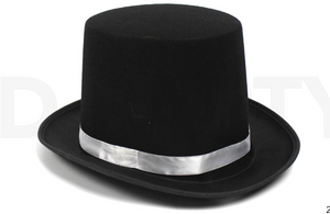 Top Hat (Black with white ribbon )