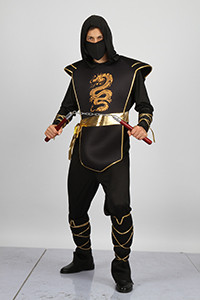 ADULT NINJA COSTUME IN PVC BAG , JUMPSUIT W/HOOD, LEG GUARDS. ARMOUR