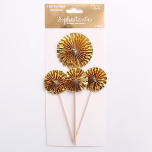 *4 pk Gold Mini Fan Wheel Decorations