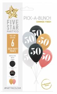 PICK-A-BUNCH 50th Birthday 30cm Asst 6pk