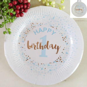 *12pk 23cm 1st Birthday Paper Plates in Foiled Blue