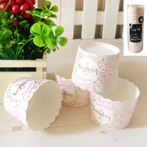 *25pk 1st Birthday Paper Baking Cups in Foiled Pink