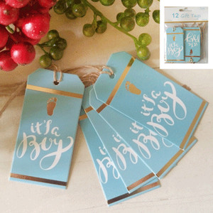 *12pk Baby Shower Gift Tags in Foiled Blue