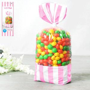 * 18pk 8.7x27.8cm Stripe Loot Bag - Pink