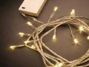 100 LED Warm White Battery Fairy Clear Cord
