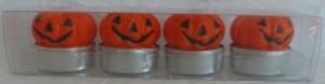 4 PUMPKIN TEA LIGHT CANDLES