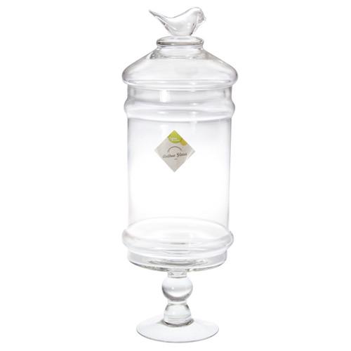 GLASS BIRD TOP APOTHECARY JAR 13 X 42CM