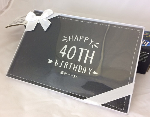 40TH GUEST BOOK SILVER WRITING 27X19CM
