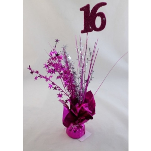 AGE 16 HOT PINK BALLOON WEIGHT W/SILVER /HOT PINK