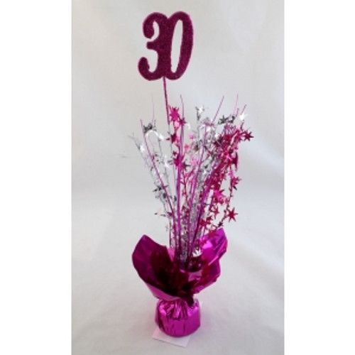 AGE 30 HOT PINK BALLOON WEIGHT WSILVER, HOT