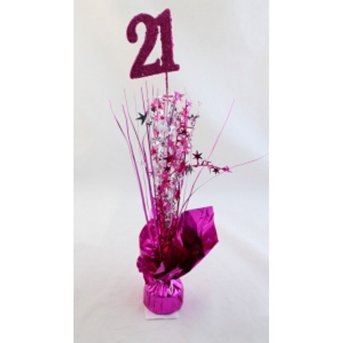 AGE 21 HOT PINK BALLOON WEIGHT W/SILVER HOT