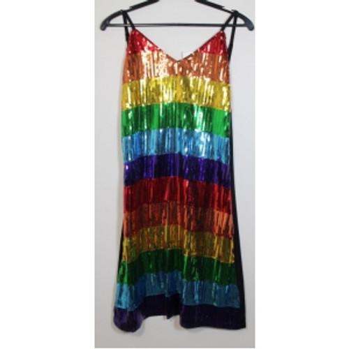 GLITTER RAINBOW STRIPE  DESIGN DRESS  ON HANGER
