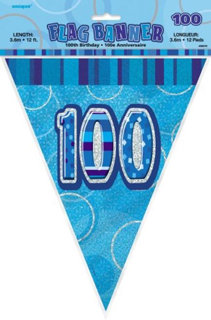 GLITZ BLUE FLAG BANNER - 100