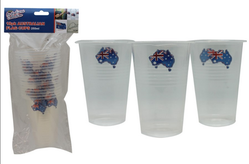 18pk Australian Flag Cups 250ml