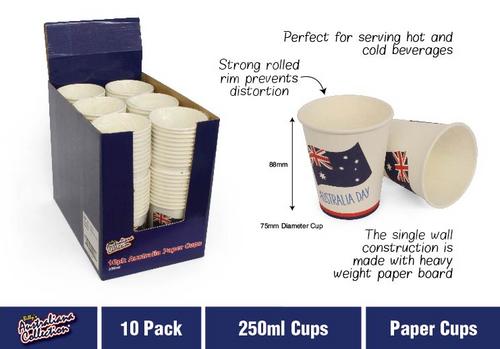 10pk Australia Paper Cups 250ml