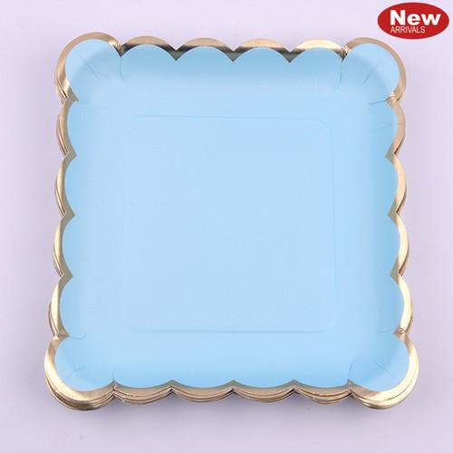 *12pk 19cm Luxe Blue Square Paper Plates