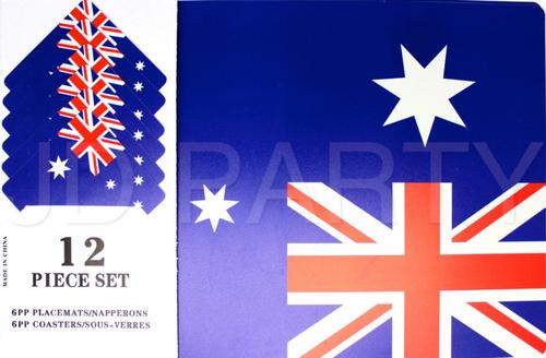 Australian Flag Placemats & Coasters Set 12pcs