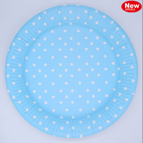 *12pk 23cm Blue Dotty Paper Plates