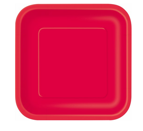 """RUBY RED 14x9"""" SQ PAPER PLATES"""
