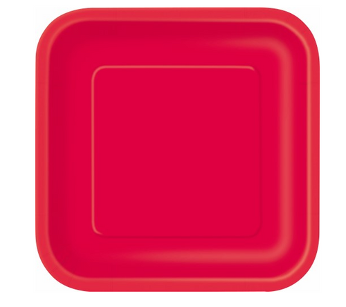 """RUBY RED 16x7"""" SQ PAPER PLATES"""