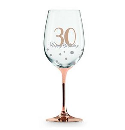 30 HAPPY BIRTHDAY ROSE GOLD STEM WINE GLASS