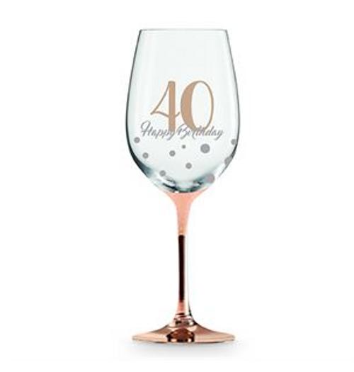 40 HAPPY BIRTHDAY ROSE GOLD STEM WINE GLASS