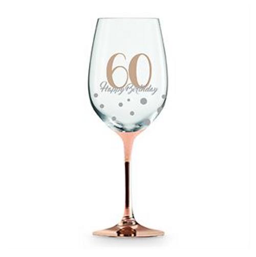 60 HAPPY BIRTHDAY ROSE GOLD STEM WINE GLASS