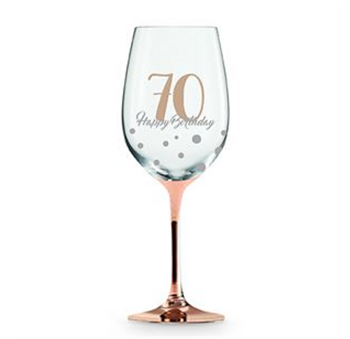 70 HAPPY BIRTHDAY ROSE GOLD STEM WINE GLASS