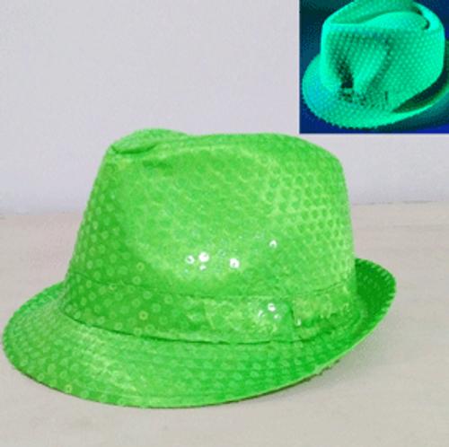 NEON SEQUIN FEDORA-GREEN