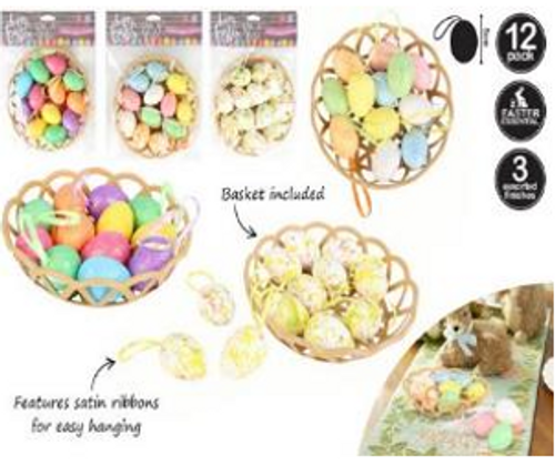 12PC EASTER EGGS IN BASKET