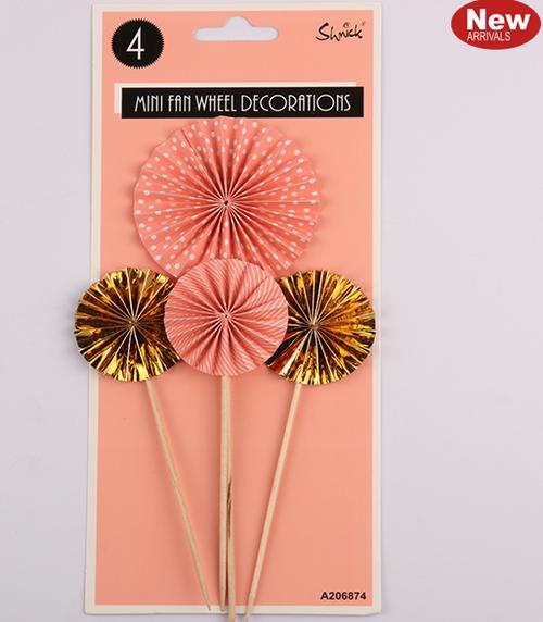 *4pk Coral Mini Fan Wheel Decorations