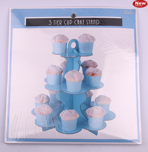 *3 Tier Blue Paper Cake Stand
