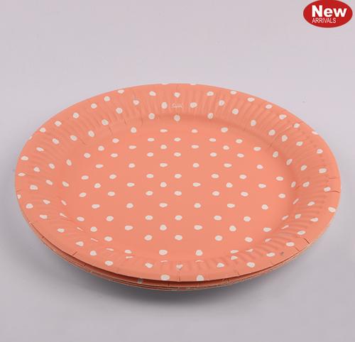 *12pk 18cm Coral Dotty Paper Plates