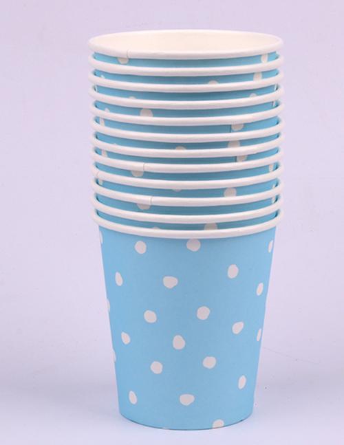*12pk 200ml Blue Dotty Paper Cups