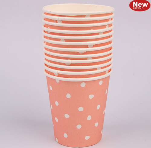 *12pk 200ml Coral Dotty Paper Cups