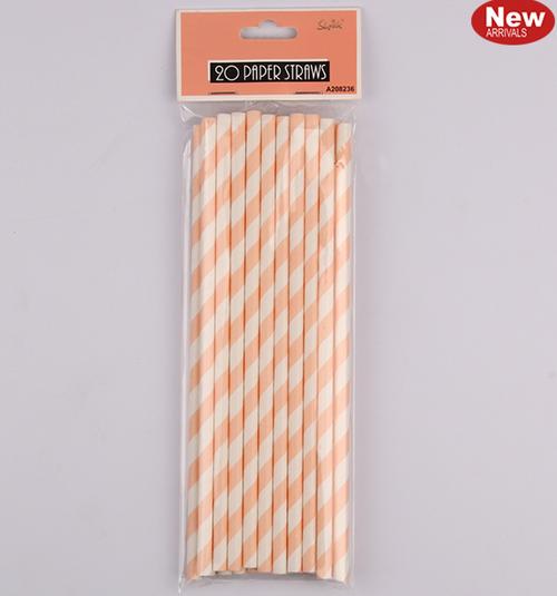 *20pk Coral Paper Straws