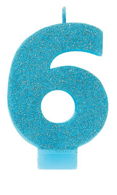 Candle Numeral Glitter 6 Caribbean Blue