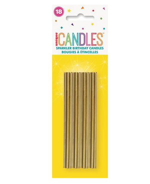18 GOLD SPARKLER CANDLES