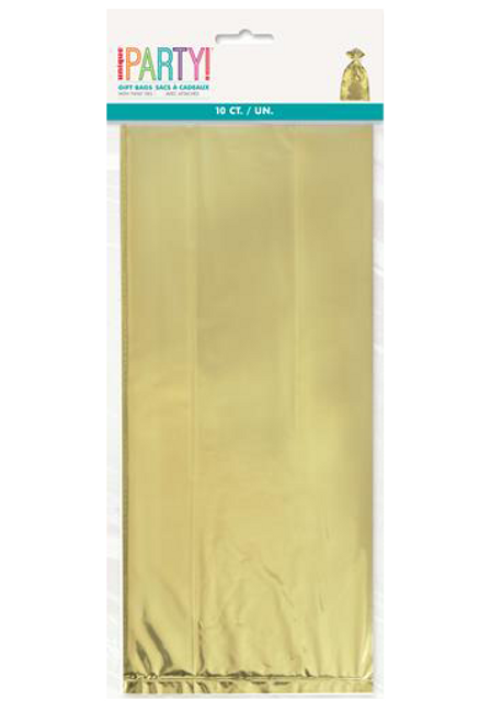 10 CELLO BAGS - GOLD FOIL