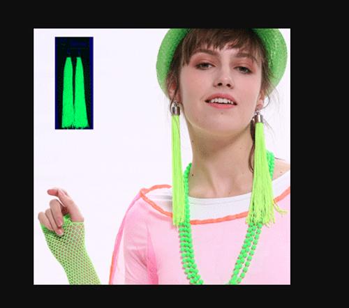 *NEON TASSEL EARRINGS-GREEN