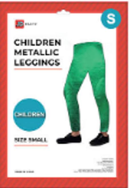Children Metallic Leggings (S) (Green)