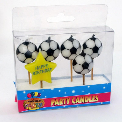 Candles Set Soccer Picks 6pc