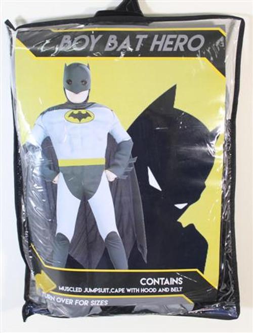 BOYS BAT HEROJUMPSUIT MUSCLED IN ZIPPER BAG CONTAINS JUMP SUIT, CAPE BELT