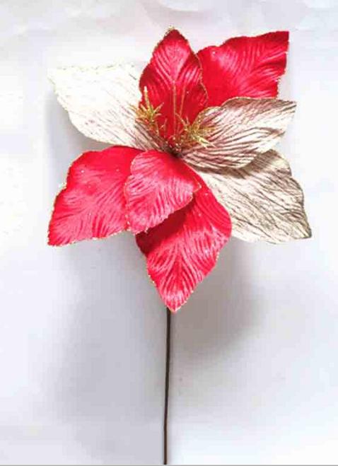 XMAS FLOWER RED/BEIGE 34X66CM