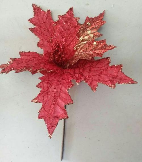 XMAS FLOWER RED W/GLITTER 30x40CM